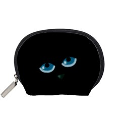 Halloween   Black Cat   Blue Eyes Accessory Pouches (small)