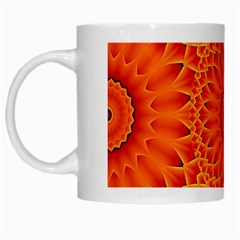 Lotus Fractal Flower Orange Yellow White Mugs by EDDArt