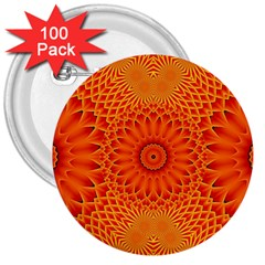 Lotus Fractal Flower Orange Yellow 3  Buttons (100 Pack)  by EDDArt