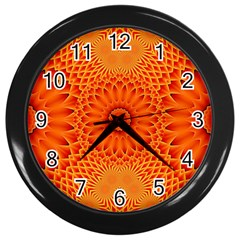Lotus Fractal Flower Orange Yellow Wall Clocks (black) by EDDArt