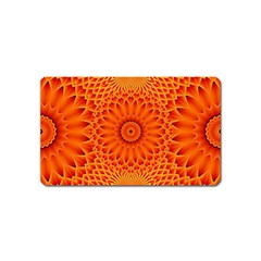 Lotus Fractal Flower Orange Yellow Magnet (name Card) by EDDArt