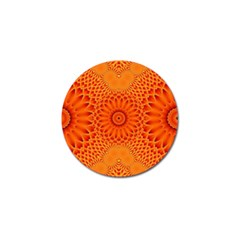 Lotus Fractal Flower Orange Yellow Golf Ball Marker (4 Pack) by EDDArt