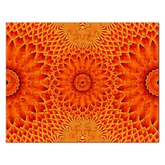 Lotus Fractal Flower Orange Yellow Rectangular Jigsaw Puzzl by EDDArt