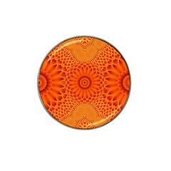 Lotus Fractal Flower Orange Yellow Hat Clip Ball Marker (4 Pack) by EDDArt