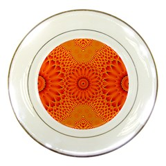 Lotus Fractal Flower Orange Yellow Porcelain Plates by EDDArt