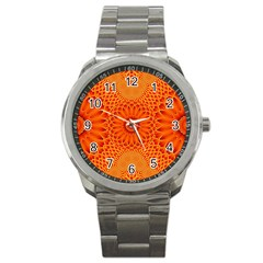 Lotus Fractal Flower Orange Yellow Sport Metal Watch by EDDArt