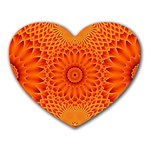 Lotus Fractal Flower Orange Yellow Heart Mousepads Front