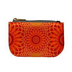 Lotus Fractal Flower Orange Yellow Mini Coin Purses by EDDArt