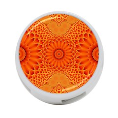 Lotus Fractal Flower Orange Yellow 4 Port Usb Hub (one Side) by EDDArt