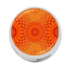 Lotus Fractal Flower Orange Yellow 4 Port Usb Hub (two Sides)  by EDDArt