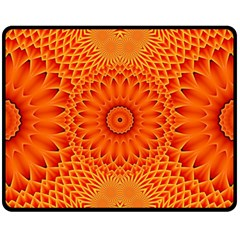 Lotus Fractal Flower Orange Yellow Fleece Blanket (medium)  by EDDArt