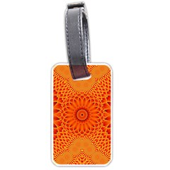 Lotus Fractal Flower Orange Yellow Luggage Tags (one Side)  by EDDArt