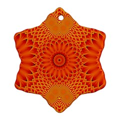 Lotus Fractal Flower Orange Yellow Ornament (snowflake)  by EDDArt
