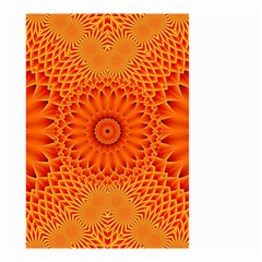 Lotus Fractal Flower Orange Yellow Small Garden Flag (two Sides) by EDDArt