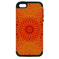 Lotus Fractal Flower Orange Yellow Apple Iphone 5 Hardshell Case (pc+silicone) by EDDArt