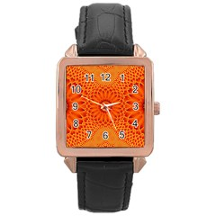 Lotus Fractal Flower Orange Yellow Rose Gold Leather Watch  by EDDArt