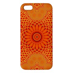 Lotus Fractal Flower Orange Yellow Apple Iphone 5 Premium Hardshell Case by EDDArt