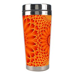 Lotus Fractal Flower Orange Yellow Stainless Steel Travel Tumblers by EDDArt