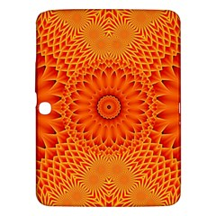 Lotus Fractal Flower Orange Yellow Samsung Galaxy Tab 3 (10 1 ) P5200 Hardshell Case  by EDDArt