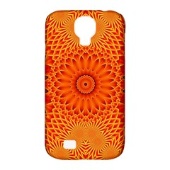 Lotus Fractal Flower Orange Yellow Samsung Galaxy S4 Classic Hardshell Case (pc+silicone) by EDDArt