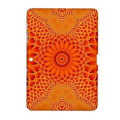 Lotus Fractal Flower Orange Yellow Samsung Galaxy Tab 2 (10 1 ) P5100 Hardshell Case  by EDDArt