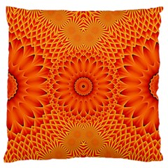 Lotus Fractal Flower Orange Yellow Large Flano Cushion Case (one Side) by EDDArt