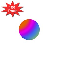 Radial Gradients Red Orange Pink Blue Green 1  Mini Buttons (100 Pack)  by EDDArt