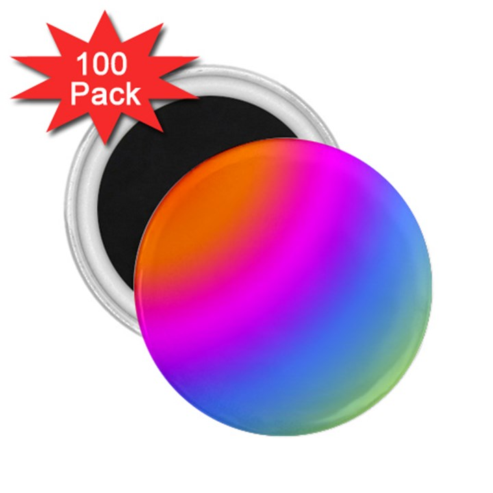 Radial Gradients Red Orange Pink Blue Green 2.25  Magnets (100 pack)