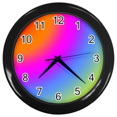 Radial Gradients Red Orange Pink Blue Green Wall Clocks (black) by EDDArt