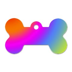 Radial Gradients Red Orange Pink Blue Green Dog Tag Bone (two Sides)