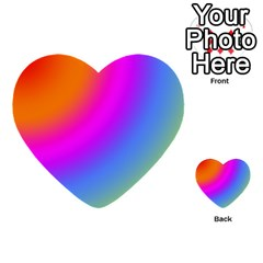 Radial Gradients Red Orange Pink Blue Green Multi Purpose Cards (heart)  by EDDArt