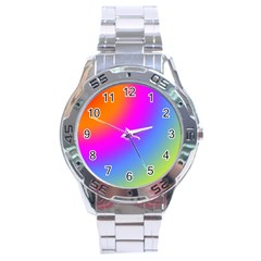 Radial Gradients Red Orange Pink Blue Green Stainless Steel Analogue Watch by EDDArt
