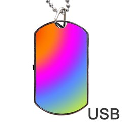 Radial Gradients Red Orange Pink Blue Green Dog Tag Usb Flash (two Sides)  by EDDArt