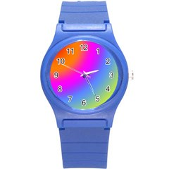 Radial Gradients Red Orange Pink Blue Green Round Plastic Sport Watch (s) by EDDArt