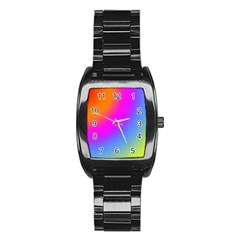 Radial Gradients Red Orange Pink Blue Green Stainless Steel Barrel Watch by EDDArt