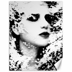 Romantic Dreaming Girl Grunge Black White Canvas 12  X 16
