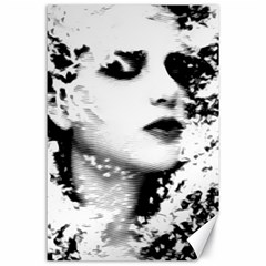 Romantic Dreaming Girl Grunge Black White Canvas 24  X 36  by EDDArt