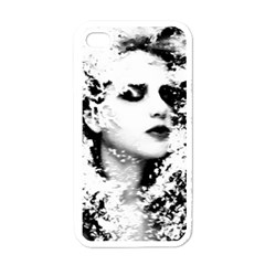 Romantic Dreaming Girl Grunge Black White Apple Iphone 4 Case (white) by EDDArt