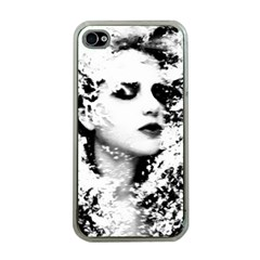 Romantic Dreaming Girl Grunge Black White Apple Iphone 4 Case (clear) by EDDArt