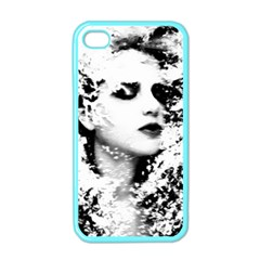 Romantic Dreaming Girl Grunge Black White Apple Iphone 4 Case (color) by EDDArt