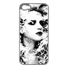 Romantic Dreaming Girl Grunge Black White Apple Iphone 5 Case (silver) by EDDArt