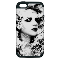 Romantic Dreaming Girl Grunge Black White Apple Iphone 5 Hardshell Case (pc+silicone) by EDDArt