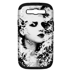 Romantic Dreaming Girl Grunge Black White Samsung Galaxy S Iii Hardshell Case (pc+silicone) by EDDArt