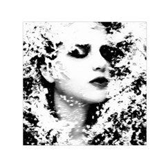 Romantic Dreaming Girl Grunge Black White Small Satin Scarf (square) by EDDArt