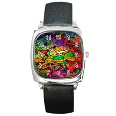Abstract Squares Triangle Polygon Square Metal Watch by AnjaniArt