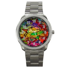 Abstract Squares Triangle Polygon Sport Metal Watch