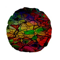 Abstract Squares Triangle Polygon Standard 15  Premium Flano Round Cushions
