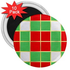 Christmas Fabric Textile Red Green 3  Magnets (10 Pack)