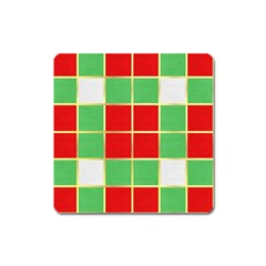 Christmas Fabric Textile Red Green Square Magnet