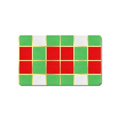 Christmas Fabric Textile Red Green Magnet (name Card)